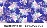 tropical leaves seamless... | Shutterstock .eps vector #1341921803
