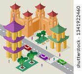 vector cityscape in east asia... | Shutterstock .eps vector #1341922460