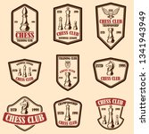 set of chess club emblems.... | Shutterstock .eps vector #1341943949