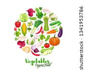 vegetables round banner.... | Shutterstock .eps vector #1341953786