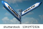 two blue arrow road signs to... | Shutterstock . vector #1341972326
