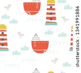 childish seamless pattern with... | Shutterstock .eps vector #1341991886