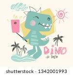 dinosaur baby cute print. sweet ... | Shutterstock .eps vector #1342001993