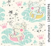 dinosaur baby seamless pattern. ... | Shutterstock .eps vector #1342001996