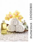 spa setting with yellow orchid... | Shutterstock . vector #1342002803