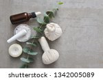 bottles of eucalyptus essential ... | Shutterstock . vector #1342005089