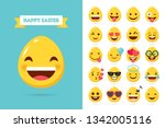 happy easter eggs emoticons ... | Shutterstock .eps vector #1342005116