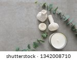 eucalyptus leaves and candle... | Shutterstock . vector #1342008710