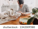 old woman sews on a sewing... | Shutterstock . vector #1342009580