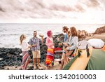 happy surfer friends making... | Shutterstock . vector #1342010003