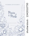 wedding invitation with roses... | Shutterstock .eps vector #1342010750