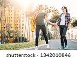 happy lesbian couple having fun ... | Shutterstock . vector #1342010846