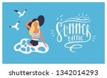 postcard template with woman... | Shutterstock .eps vector #1342014293