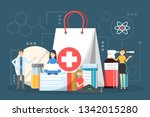 medication set. collection of... | Shutterstock .eps vector #1342015280