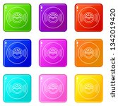 vinyl record icons set 9 color...   Shutterstock .eps vector #1342019420