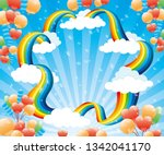 festive banner with a rainbow...   Shutterstock .eps vector #1342041170