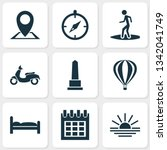 traveling icons set with sunset ... | Shutterstock . vector #1342041749