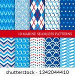 ten marine different seamless... | Shutterstock .eps vector #1342044410