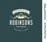 mountains logo emblem vector...   Shutterstock .eps vector #1342047986