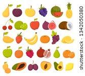 fruits set. organic food full... | Shutterstock .eps vector #1342050380