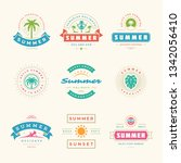 summer holidays labels and... | Shutterstock .eps vector #1342056410