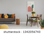 vintage living and dining room... | Shutterstock . vector #1342056743