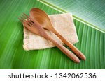 wooden spoon and fork... | Shutterstock . vector #1342062536