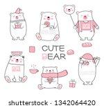 cute baby bear cartoon hand... | Shutterstock .eps vector #1342064420