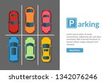 free car parking lot with... | Shutterstock . vector #1342076246