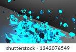 blue illuminating wall damaged... | Shutterstock . vector #1342076549