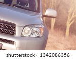 close up front vew silver suv... | Shutterstock . vector #1342086356