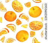 summer pattern with oranges.... | Shutterstock . vector #1342090163