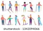group of cute cartoon skiers... | Shutterstock . vector #1342094066