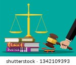 law code books  justice scales... | Shutterstock .eps vector #1342109393