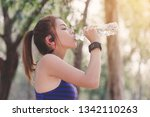 young people drinking water...   Shutterstock . vector #1342110263