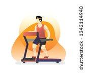 a man run on a treadmill ...