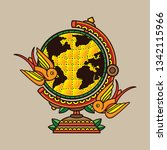 design traditional globe tattoo ... | Shutterstock .eps vector #1342115966