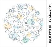 circular background of children ... | Shutterstock .eps vector #1342121459