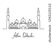 abu dhabi continuous line... | Shutterstock .eps vector #1342125113