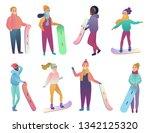 group of cartoon snowboarders.... | Shutterstock . vector #1342125320
