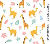 seamless pattern with african... | Shutterstock .eps vector #1342126253