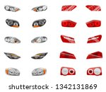 realistic auto headlights set... | Shutterstock .eps vector #1342131869