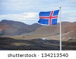The Flag Of Iceland Waving In...
