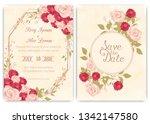 wedding invitation card floral... | Shutterstock .eps vector #1342147580