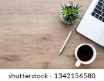 wood office desk table with... | Shutterstock . vector #1342156580