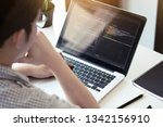 young programmer is thinking... | Shutterstock . vector #1342156910
