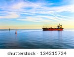 oil tanker ship and buoy in the ... | Shutterstock . vector #134215724