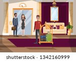 hotel hall or corridor interior....   Shutterstock .eps vector #1342160999