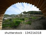 View of Generalife seen from the Alhambra in Granada, Andalusia, Spain - stock photo
