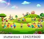 happy children playing outside | Shutterstock .eps vector #1342193630